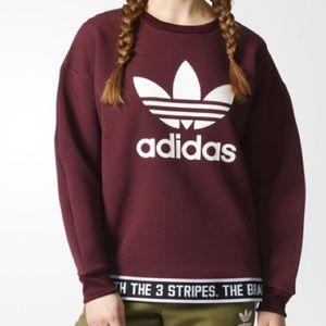 Adidas maroon trefoil pullover sweatshirt